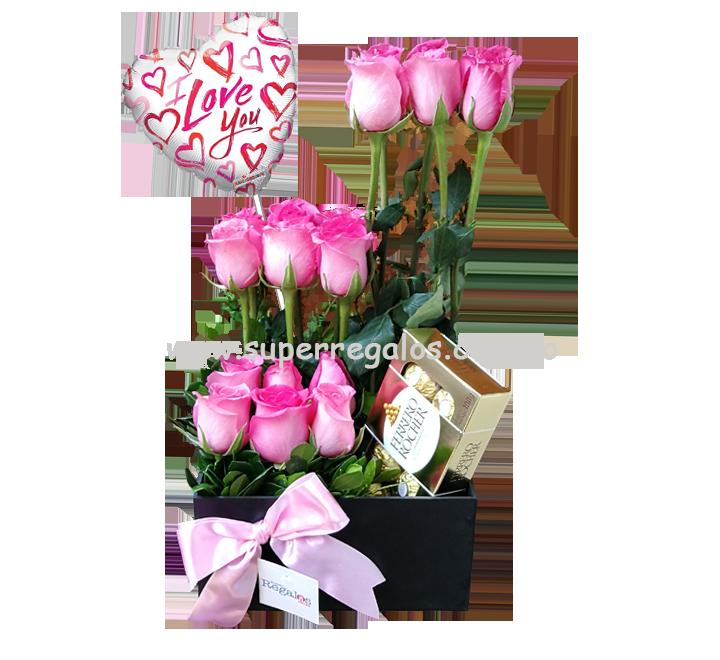 Caja con 18 rosas cuadrada