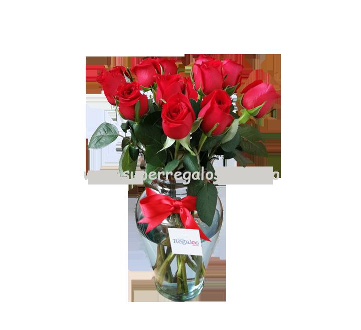 Florero con 12 rosas rojas