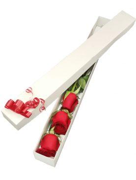 Caja con 3 rosas