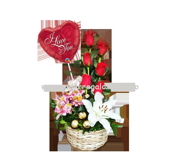 Arreglo con 6 rosas, astromelias y lirio - 0015