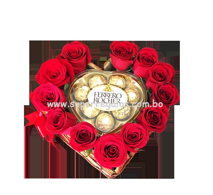 Corazón con 12 rosas y chocolates