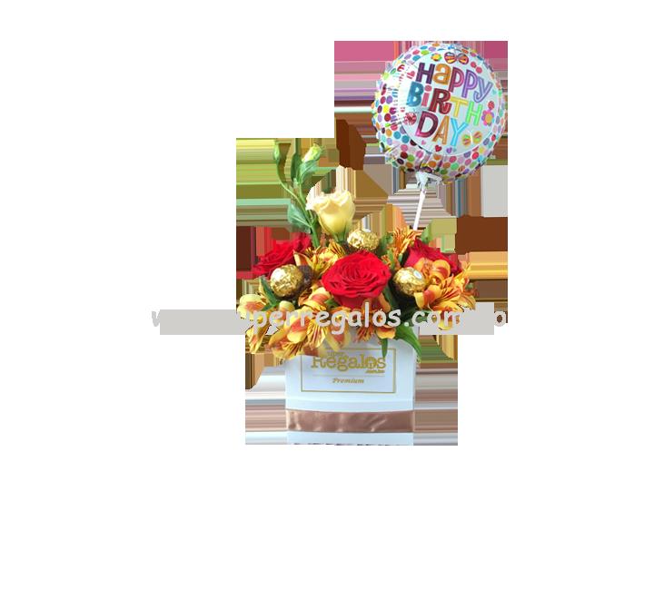 Caja con rosas y astromelias