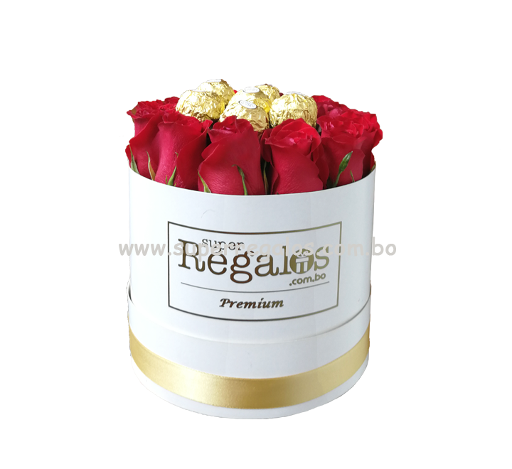Caja redonda con rosas y chocolates