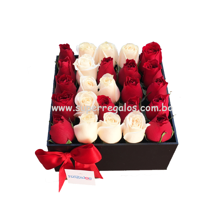 Caja cuadrada con rosas