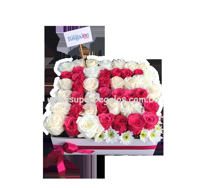 Caja cuadrada grande con rosas