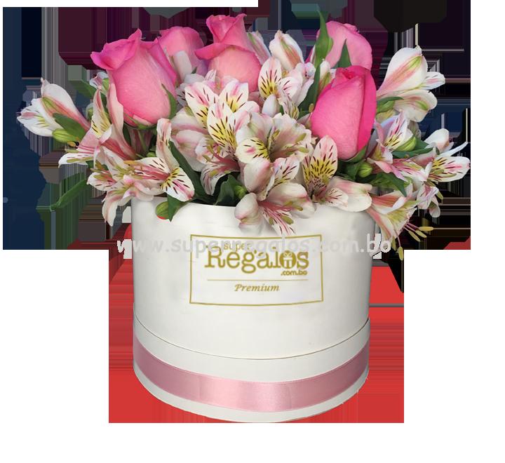 Caja redonda con rosas y astromelias