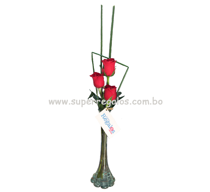 Florero con 3 rosas