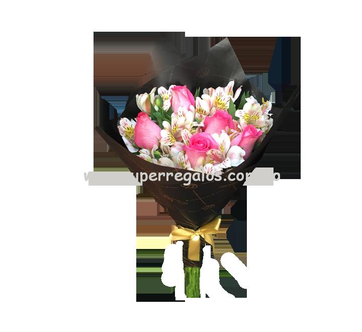 Ramo de 6 rosas y astromelias