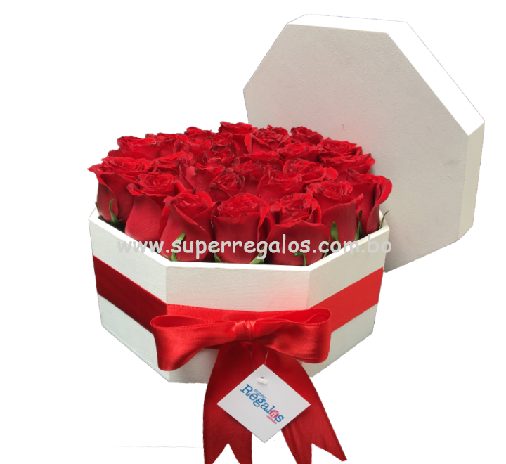 Caja octagonal con rosas