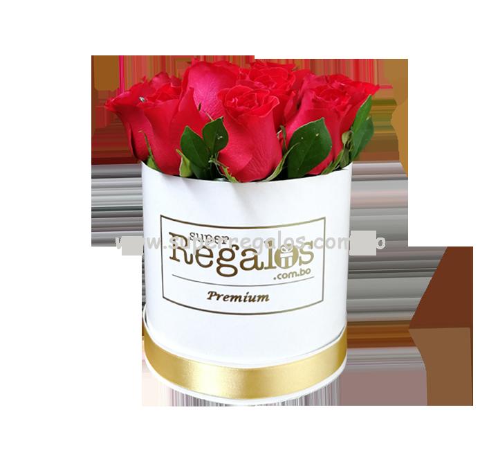 Caja redonda con 12 rosas