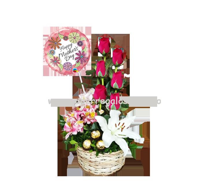 Arreglo con rosas, astromelias y lirio - 0017 (Para mamá)