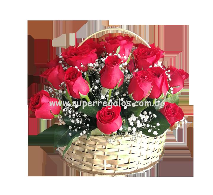 Canasta con 24 rosas - 0019