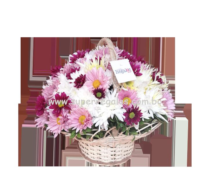 Cesta de flores variadas - 0018