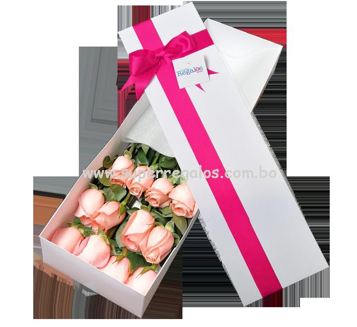Caja con 12 rosas rosadas