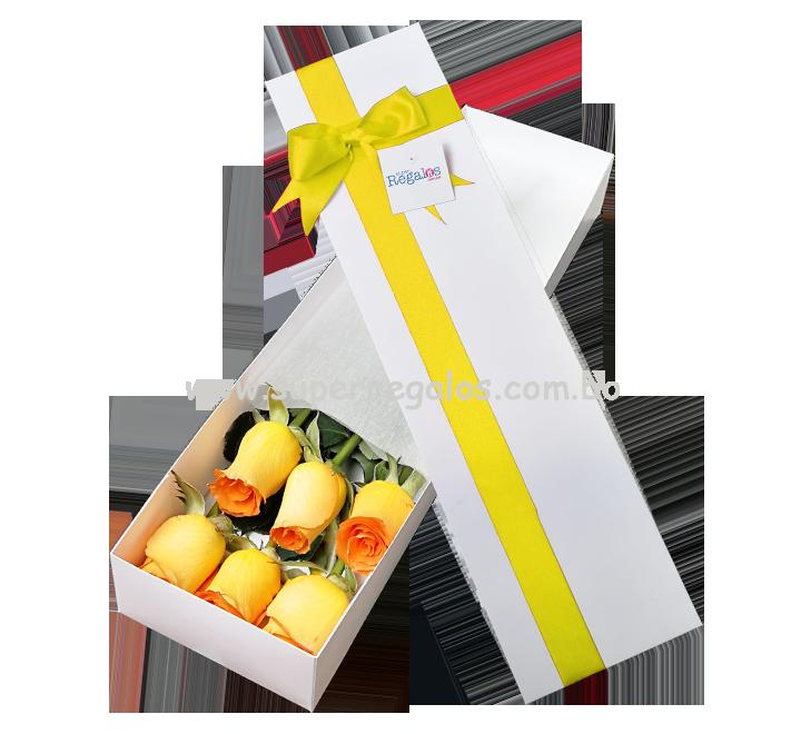 Caja con 6 rosas amarillas