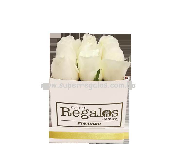 Caja cuadrada con rosas 9 Blancas