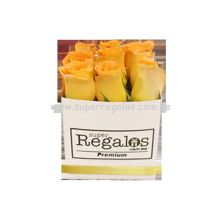 Caja cuadrada con rosas 9 rosas Amarillas