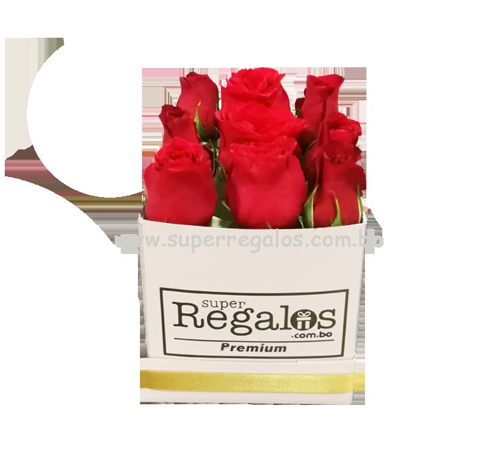 Caja cuadrada con 9 rosas Rojas