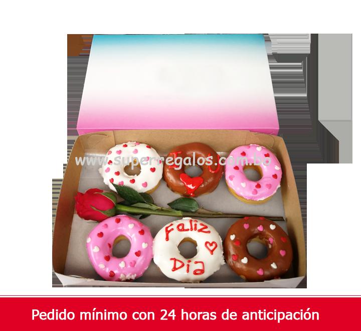 Caja con 6 Donuts y 1 Rosa