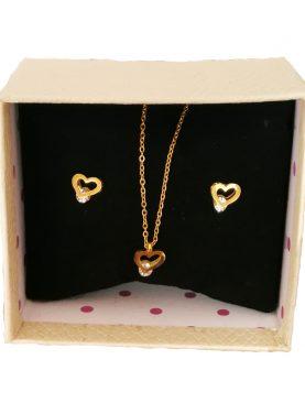 Cadena con pendiente de Corazón y aretes