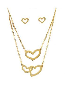 Cadena con pendiente doble de Corazón dorado y aretes