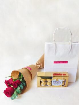 Ramo de rosas y chocolate