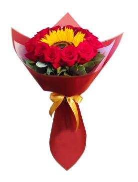 Ramo con rosas y Girasol