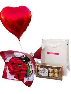 Combo rosas, chocolate y globo
