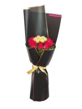 Ramo de rosas y chocolate ferrero rocher
