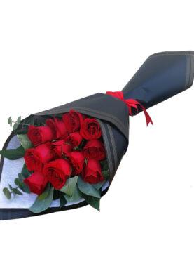 Ramo de 12 rosas en degrade